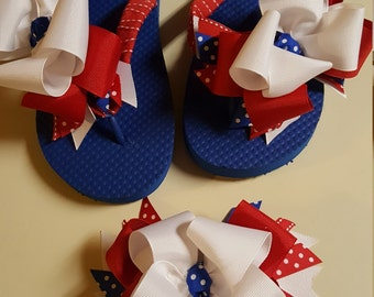 Ribbon Flip Flops, Boutique Hairbow,