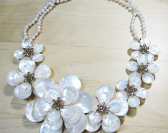 7 Mother of Pearl Flower Necklace, Collar Necklace