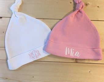 Newborn Baby Girl Hat - Hospital Hat - Personalized Newborn Girl Hat