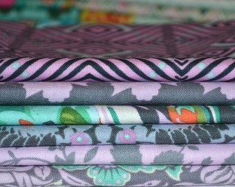 Amy Butler 6 Fat Quarter Pack/Purple Bundle/Sewing/Quilting/High Quality/Home Dec/Orange/Green/Violette Collection/Cotton