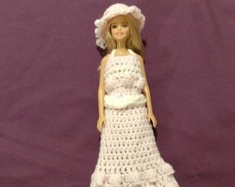 Barbie Doll Clothes, Barbie Doll Dress, Barbie Doll Gown, Doll Dress. Crochet Barbie Dress