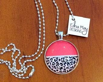 Pink and print pendant