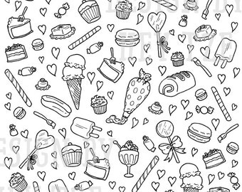 Sweets And Pastries Colouring Page - sweets colouring page, hearts colouring page, candy colouring page, sweets digital stamp