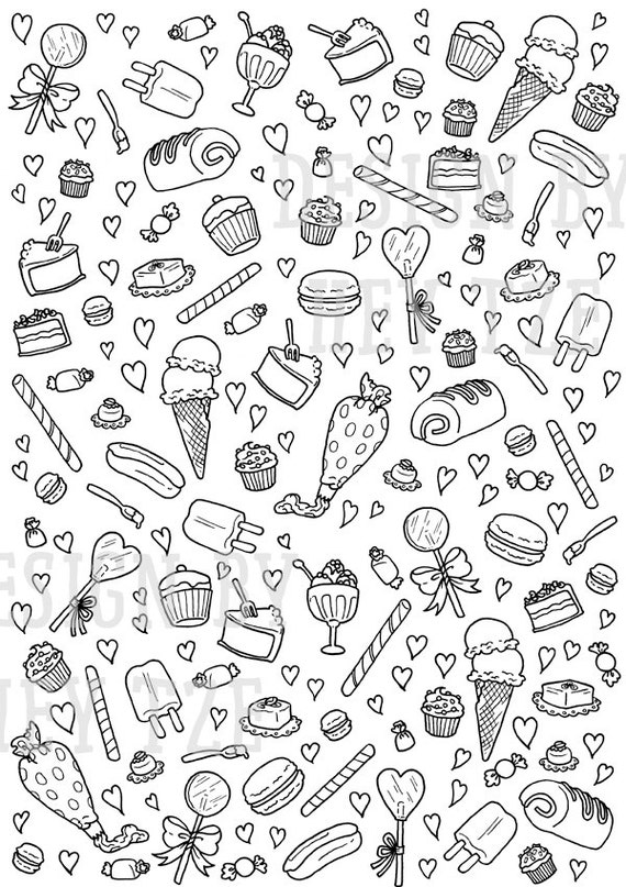 Sweets And Pastries Colouring Page