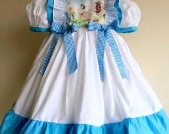 Vintage Beatrix Potter Dress Bespoke Hand Made Sizes 6 mths, 12 mths, 18 mths, 24 mths 3 yrs
