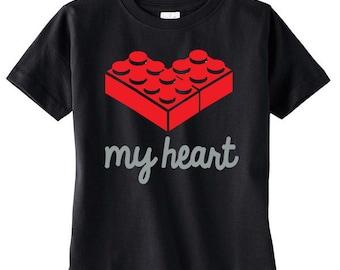 Kids Valentines Tshirt -  Building Brick Heart Shirt - Kids Valentines Shirt - Boys Valentine Tshirt - Kids Valentine TShirt - Valentine Tee