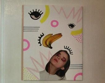 Cool Nylon Magazine & Paint  Collage on Canvas
