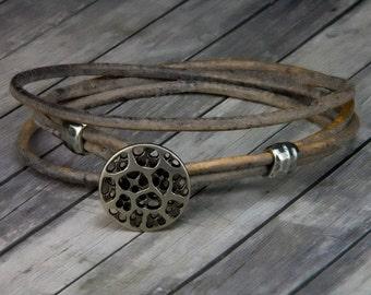 Coral Leather Bracelet –  Beach Jewelry - Handmade Leather Wrap Bracelet - Mens Leather Bracelet - Womens Leather Bracelet – Beach Jewelry