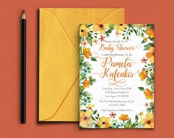 Baby Shower Invite, Gender Neutral Shower, Watercolor Flowers, Orange & Yellow, Printable Shower Invitation, Floral border Invite
