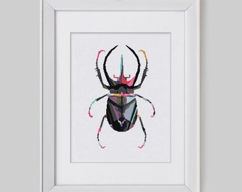 Cross Stitch Pattern instant download PDF, Rhino Beetle cross stitch pattern, Modern beetle cross stitch