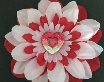 Valentines day flower clip , heart