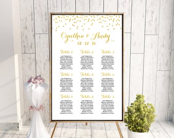 Gold Find your Seat Chart, Printable Wedding Seating Chart, Wedding Seating Poster, Wedding Seating Sign, Wedding Seating Board WD47 DD WC71