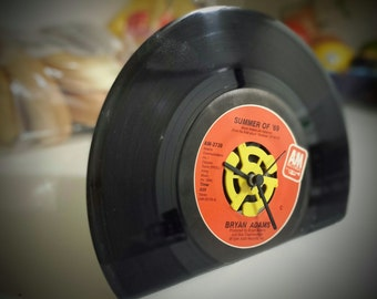 Vinyl Record Clock - Vinyl 45 Record Clocks complete the desk of the music enthusiast.  Made from real vinyl records.
