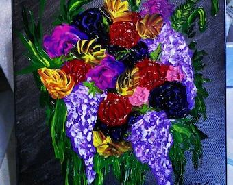 Bouquete. Original 3D handmade painting.
