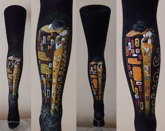 Klimt Kiss Design, Klimt Fashion, Klimt Leggings, Hand painted tights, Art Design, Art Fashion, Painted Tights, Painted Leggings