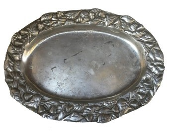 Antique Nut Vine Pewter Platter **FREE SHIPPING**