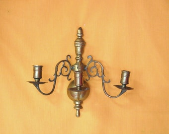 Vintage Antique Solid Brass Candelabra Wall Hanging