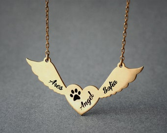 Personalized THREE NAMES Winged Heart Paw Necklace / Angle Paw Necklace / Name Necklace / Silver, Gold Plated or Rose Plated.
