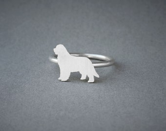 NEWFOUNDLAND Dog RING / Newfoundland Dog Ring / Silver Dog Ring / Dog Breed Ring / Silver, Gold Plated or Rose Plated.