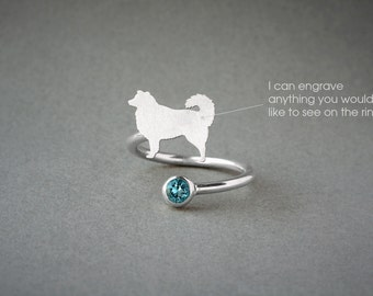 AUSTRALIAN SHEPHERD BIRTHSTONE Spiral Ring • Australian Shepherd • Name Ring • Birthstone Ring • Custom Ring • Dog Gift • Dog Ring