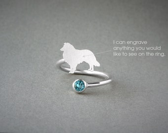 Adjustable Spiral SHETLAND SHEEPDOG BIRTHSTONE Ring / Collie Birthstone Ring / Birthstone Ring / Dog Ring
