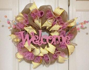 SALE! Burlap mesh welcome wreath