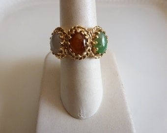 Hand crafted 14ct gold ring with semi precious gemstones