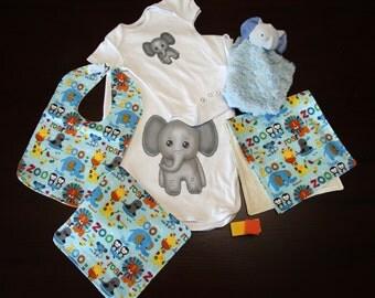 Baby Gift Set (1 Onesie, 1 Blanket, 1 Burp Cloth, 1 Bib, 1 Washer)