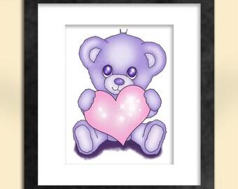 Cute Purple Teddy Bear Art Print