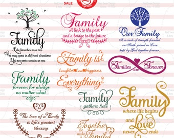 10 Family Quotes - Cutting File – SVG, DXF, PDF, jpg, png, Personal & Commercial Use, Family Clipart, Family Sayings Wall Art popular family