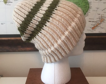 Green & Off-White Loom Knit Adult Hat