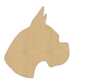 Boxer Dog Head Cutout Shape Laser Cut Unfinished Wood Shapes, Craft Shapes, Gift Tags, Ornaments #805 All Sizes