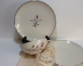 Fabulous Franciscan 'Carmel' Pattern-Pink, Purple, Grey, Platinum MCM Cup, Saucer, and Dainty Side Plate