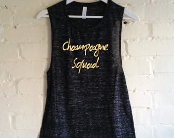 Champagne Squad Tank Top. Funny Champagne Tank. Women's Muscle Tank. Gym Tank. Champagne Shirt. Workout Tank. Sunday Brunch Squad.