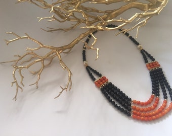 Black and orange statement necklace