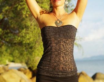 Women Tank Top, Burn Out, Yoga, Dance, Beach, Semi Transparent