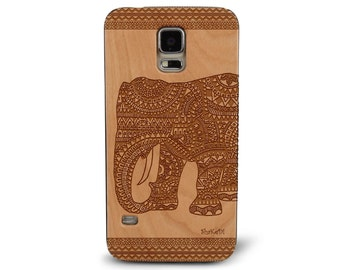 Laser Engraved Hand Drawn Tribal Aztec Mandala Doodle Zentangle Hindu Elephant on Genuine Wood phone Case for Galaxy S5, S6 and S6Edge S-030