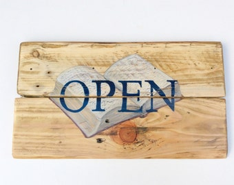 Open and Closed Business Sign Book Store Library Reading Shop Double sided Sign Door Hanger Vintage Sign Hand Painted Sign Wooden Hours sign