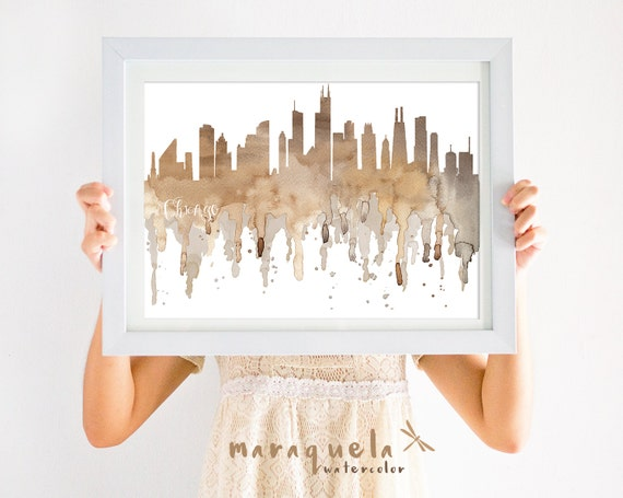 CHICAGO Skyline Brown and Grey hues, Neutral Colors watercolor, print, poster USA gift decoration city United States America home decor wall