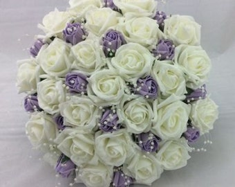 Foam Rose and Pearl Bridal Bouquet
