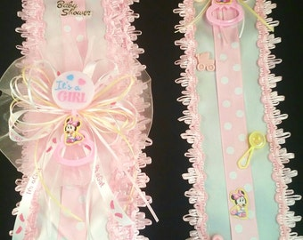Pink Its A Girl Baby Minnie Mouse Baby Shower Sash & Tie Set