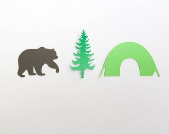 Camping, Camping Confetti, Bear, Pine Tree, Tent, Camping Party, Camping Party Decor, Camping Birthday, Set of 30
