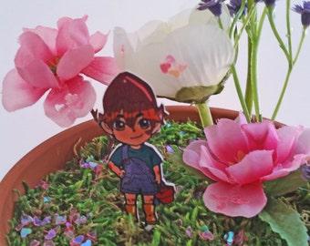 Terrarium Gnome Chibi Charms, Houseplant Decoration, Gnome Garden Decor, Terrarium Accessories, Shrink Plastic
