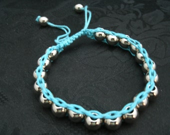 10mm Brass Beads Bracelet Cotton Cord Adjustable Bracelet/Anklet Adjustable 8 to 9 inches