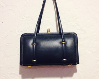 Vintage Handbag- Vintage Navy Sereta Structured Bag