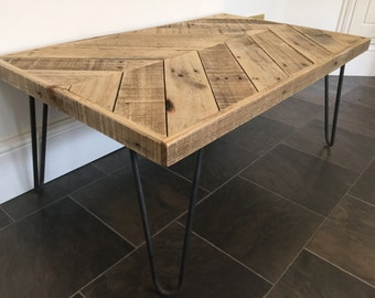 Chevron Coffee Table with Hairpin Legs