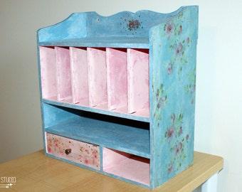 Shabby chic mail organizer, vintage mail rack, mail sorter, mail rack, wood mail organizer center caddy holder drawer, desk mail organizer