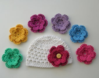 Crochet Baby Hat with 7 Flowers/COMING HOME hat/Baby hat/flower baby Hat/Baby girl Beanie/Baby Newborn Hat/Newborn Beanie/Newborn Hat