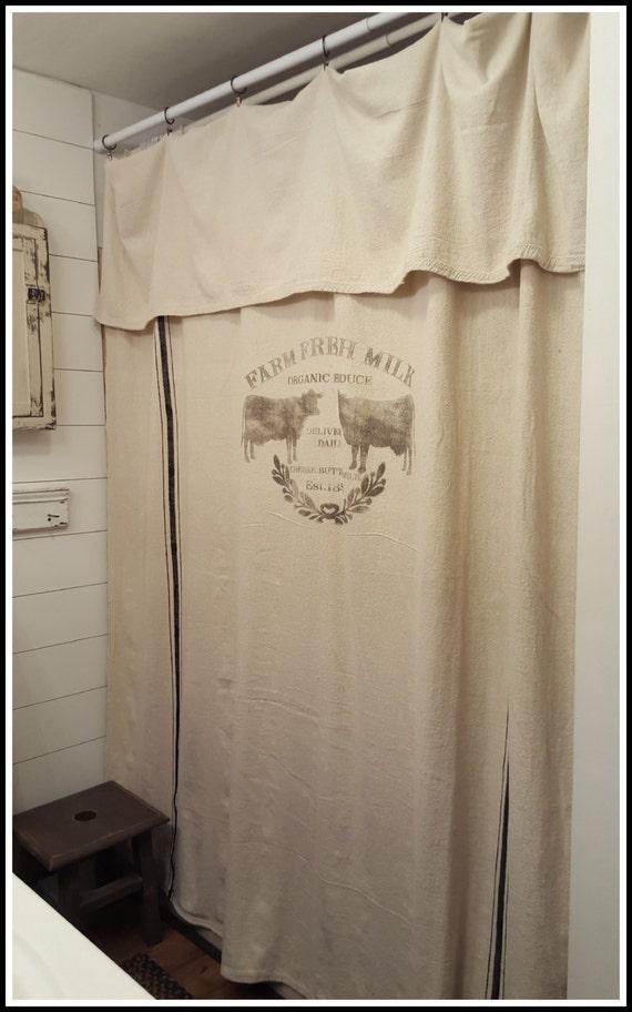 Grain Sack Window Or Shower Curtainfarm Fresh Pattern
