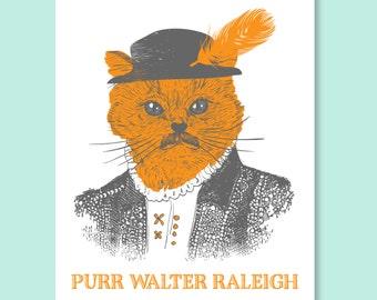 Purr Walter Raleigh Card |  Raleigh, NC Screen Print, Raleigh Screen Print, Raleigh Print, NC Print, Raleigh Art, Sir Walter Raleigh, Cat